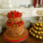 tlcb, that little cake boutique, chocolate wrap cake, two tier, french dresser, ferrero rocher, strawberries, raspberries, chocolate ruffle cake, red, brown, gold, birthday, celebration, valentines day