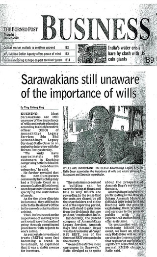 Sarawakians still unaware of the importance of wills