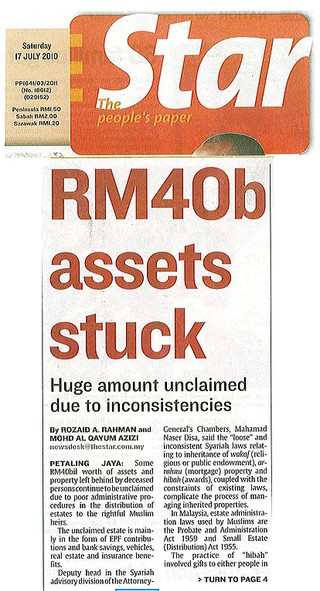 The Star reports RM40b assets stuck and unclaimed