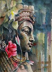 Buddha with Hibiscus