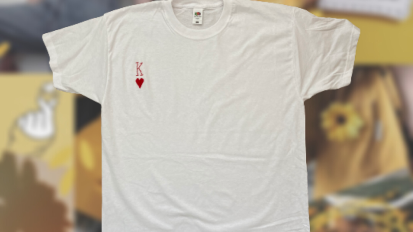 King of Hearts | White Embroidery T-Shirt