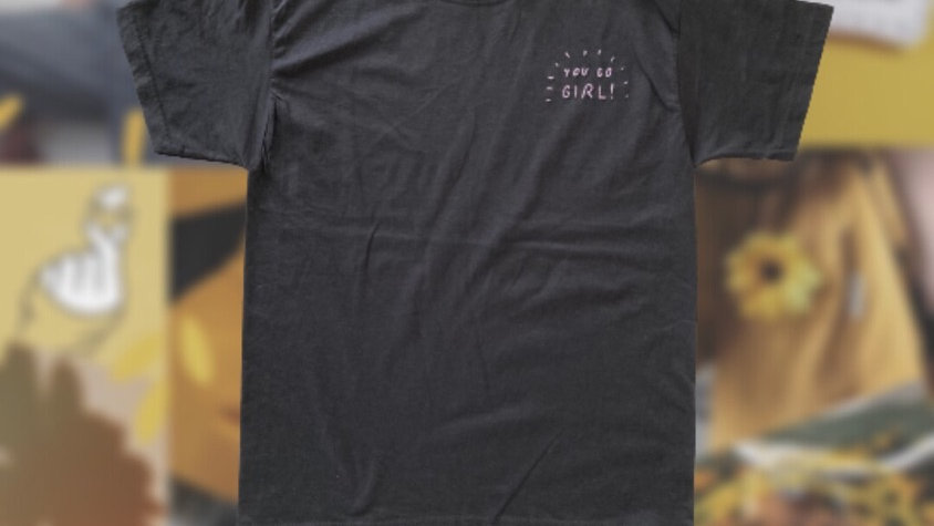 You Go Girl | Black and Purple Hand Embroidered T-Shirt