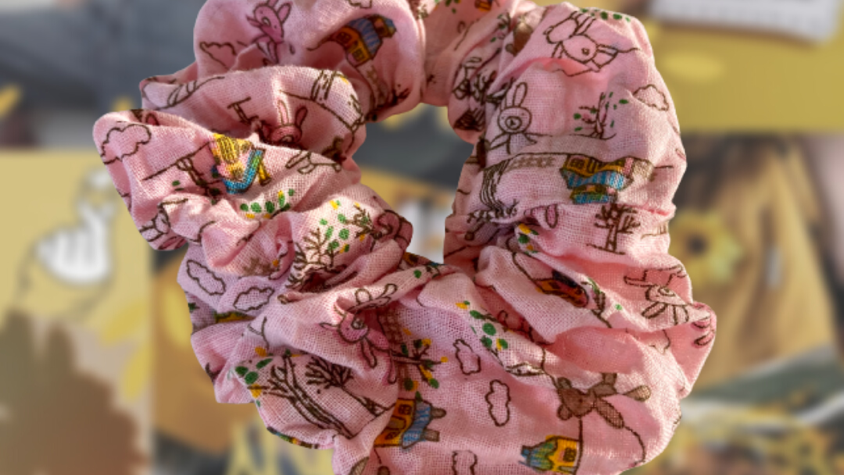 Pink Teddy Bear   Hair Scrunchie