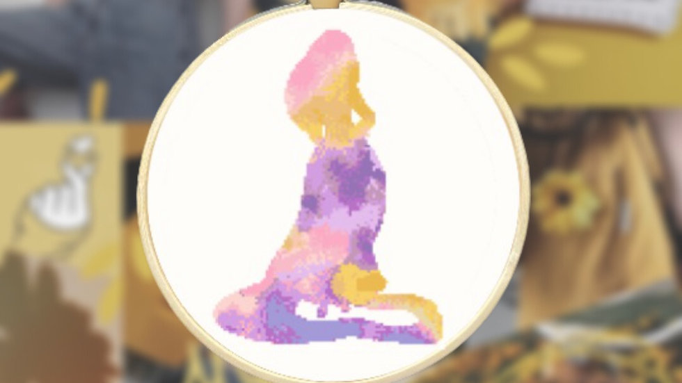 Pink, Purple & Yellow Watercolour Princess | Cross Stitch Pattern