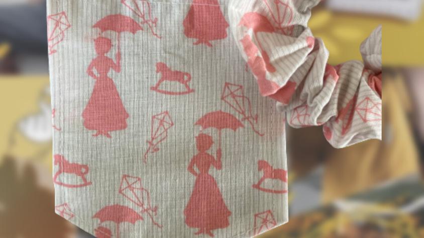 White & Pink Marry Poppins   Matching Pocket & Scrunchie