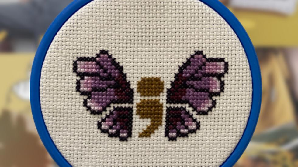 Semi-Colon Mental Health Awareness Butterfly | Cross Stitch Hoop