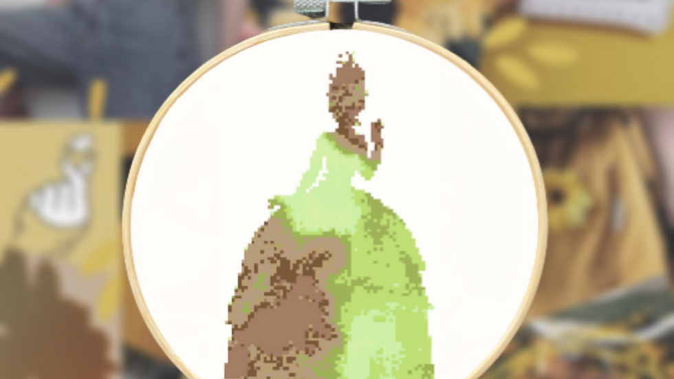 Green and Brown Watercolour Princess | Cross Stitch Pattern