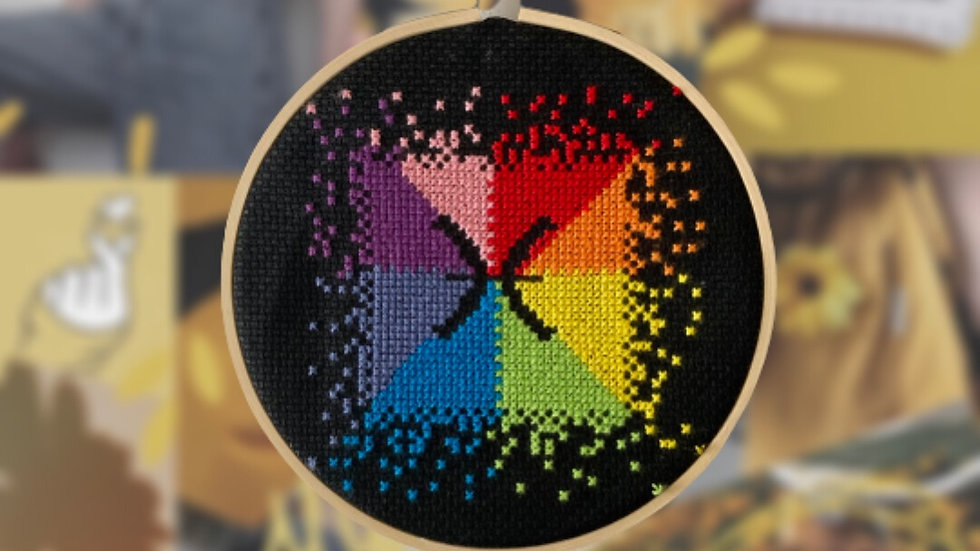 Rainbow Star Sign   Cross Stitch Hoop