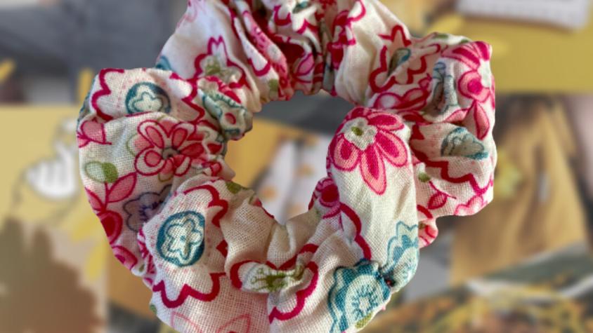Pink Floral | Hair Scrunchie