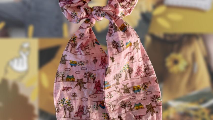 Pink Teddy Bear | Bunny Ear Hair Scrunchie