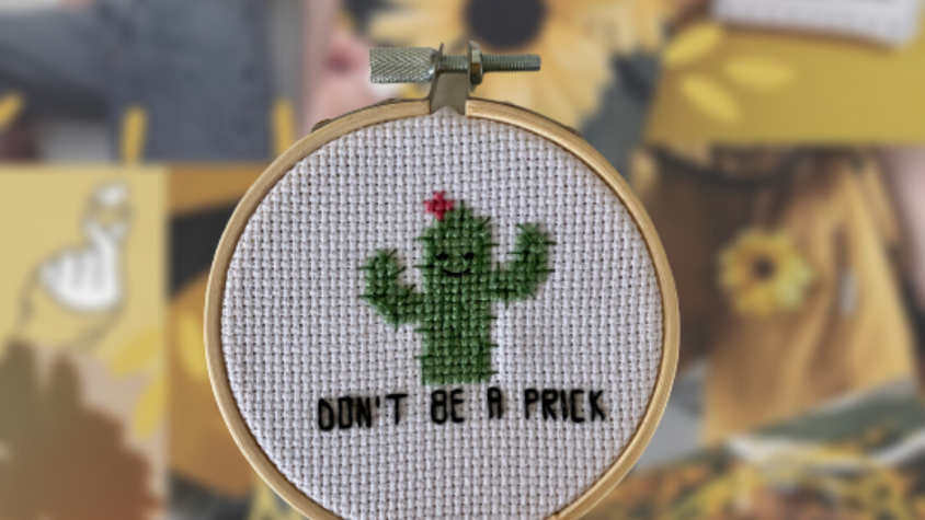 Don't Be a Prick Cactus | Cross Stitch Hoop
