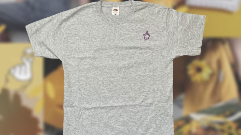Middle Finger   Grey Cross Stitch T-shirt