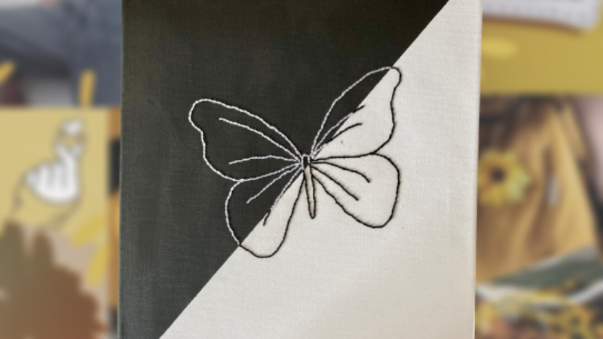 Black and White Butterfly   Embroidered Canvas