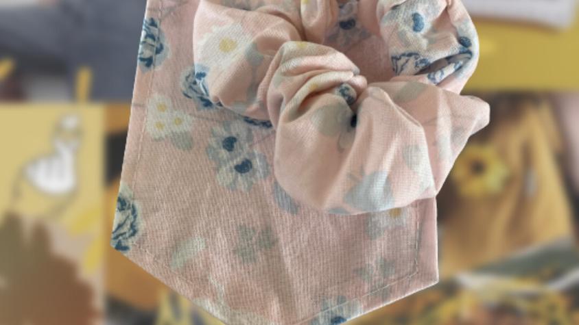 Pink & Blue Floral Marry Poppins   Matching Pocket & Scrunchie
