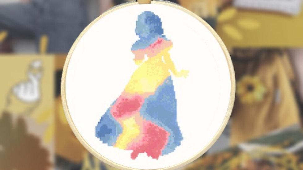 Blue, Red & Yellow Watercolour Princess   Cross Stitch Pattern