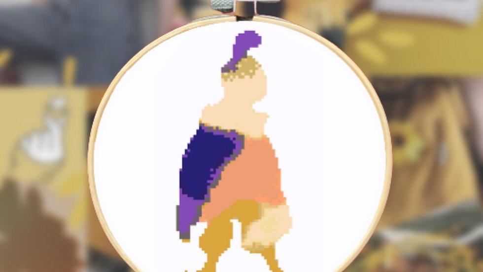 Purple Watercolour Prince   Cross Stitch Pattern