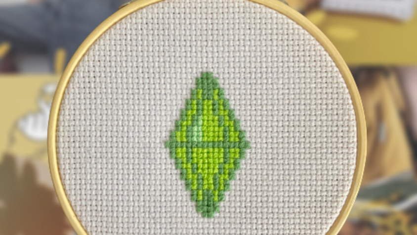 Plumbob Green   Cross Stitch Hoop