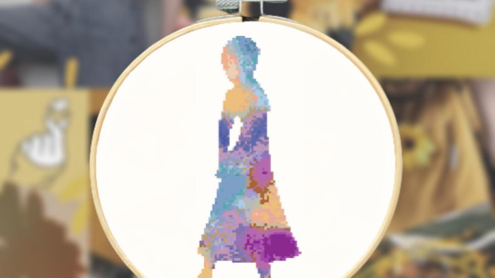 Purple and Orange Watercolour Princess   Cross Stitch Pattern