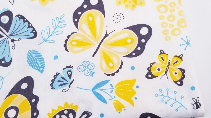 Yellow & Blue Butterfly   100% Cotton Fabric