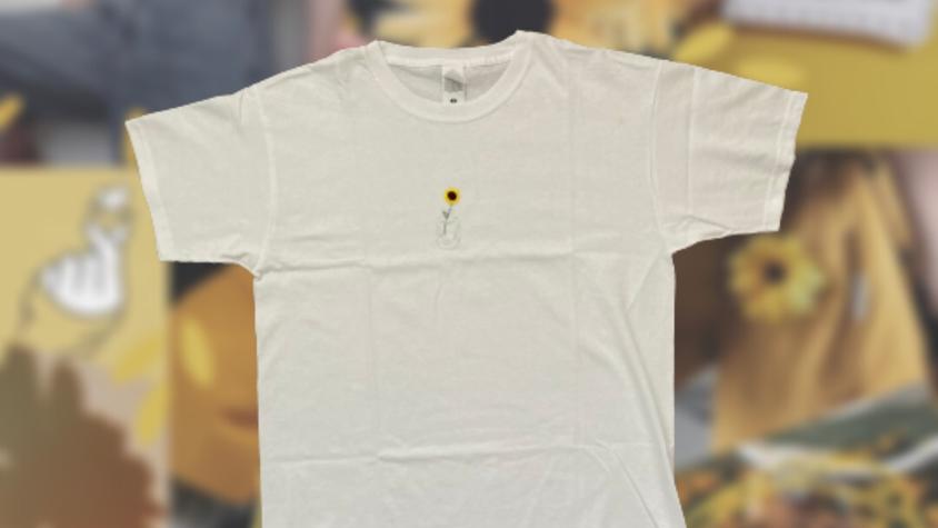 Sunflower   White Hand Embroidered T-shirt