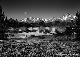 clyde butcher moon over tetons, wyoming, natures places
