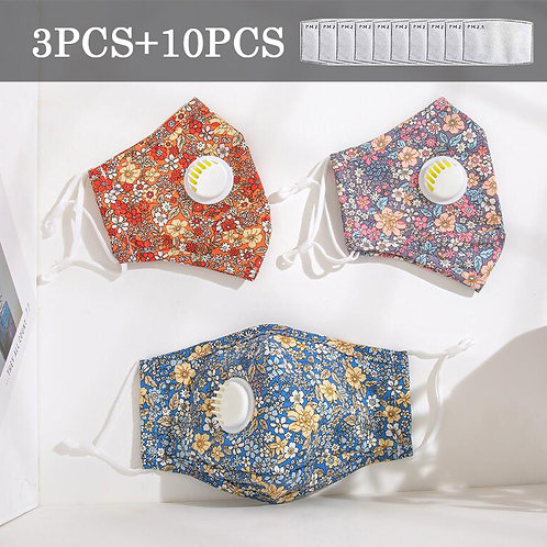 Three Color Small Flower Valve Mask