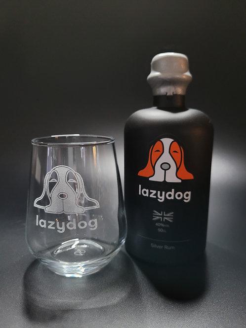 Lazydog Silver Rum & Glass Gift Set