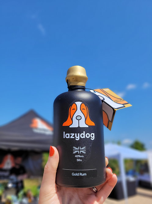 Lazydog Gold Rum & Glass gift set
