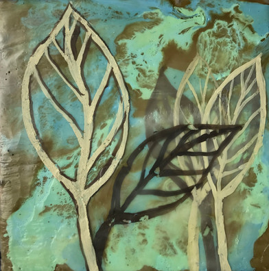 Fragile Leaves_Encaustic