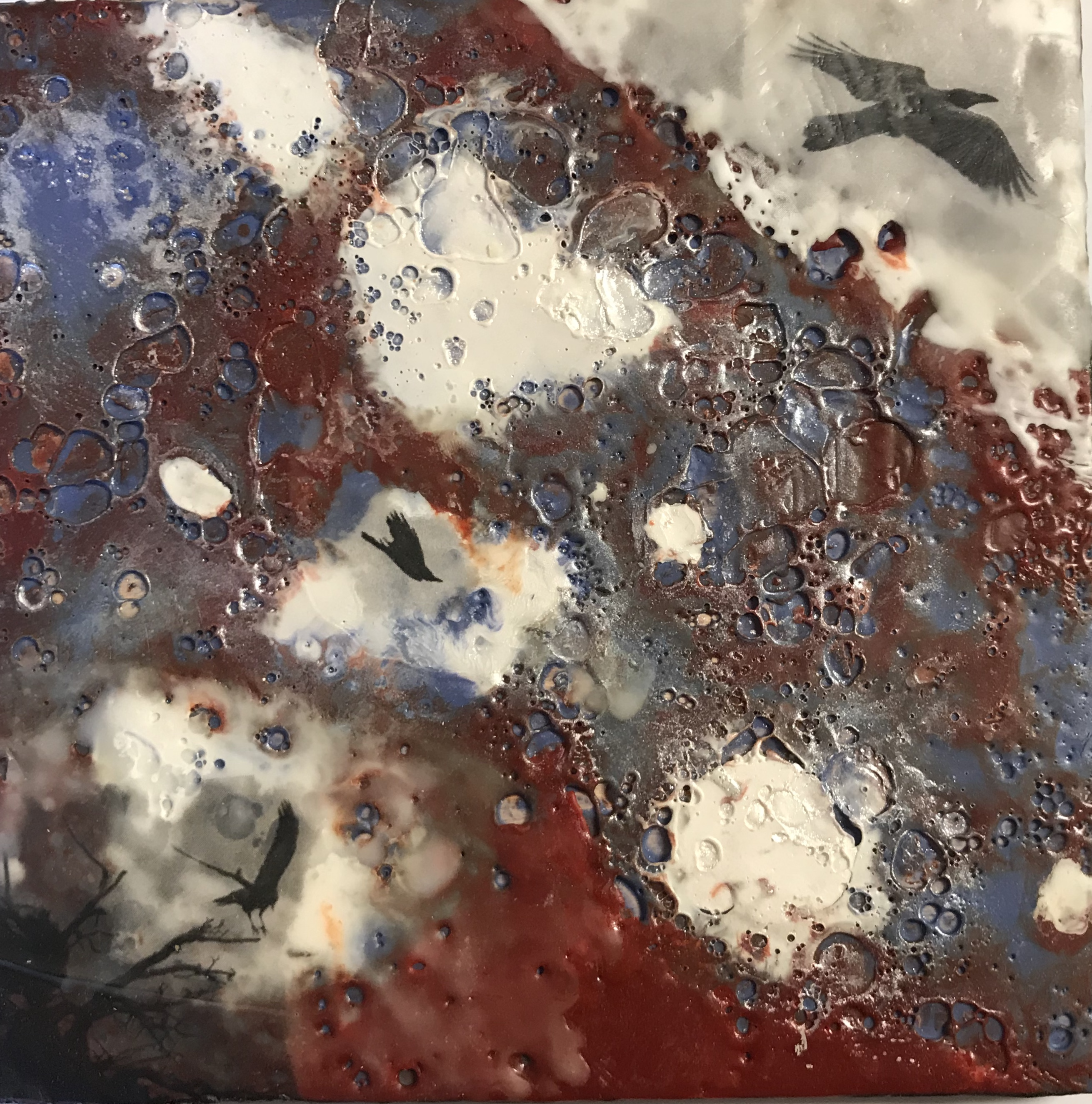 Suzer- Freedom - 7x7 - Encaustic - $95 -