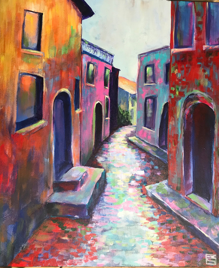 Reflections in the Alley_24X20_Acrylics
