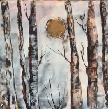 SMALLS-Suzer - Winter Sun- 6x6 Encaustic