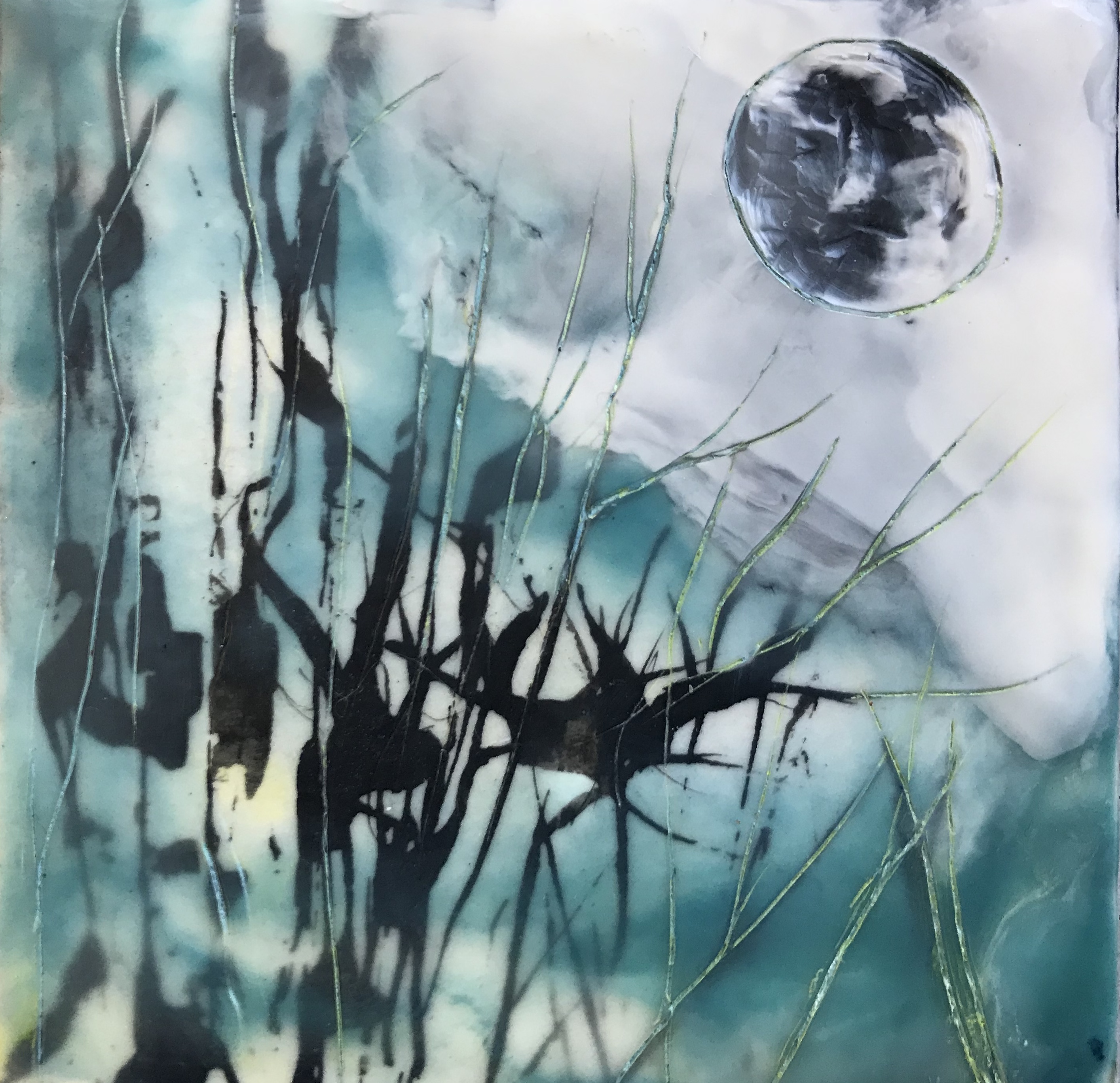 SMALLS - Suzer - Moon - 4x4 Encaustic -