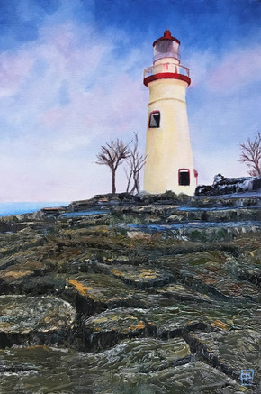 White Lighthouse_17x20 Oil