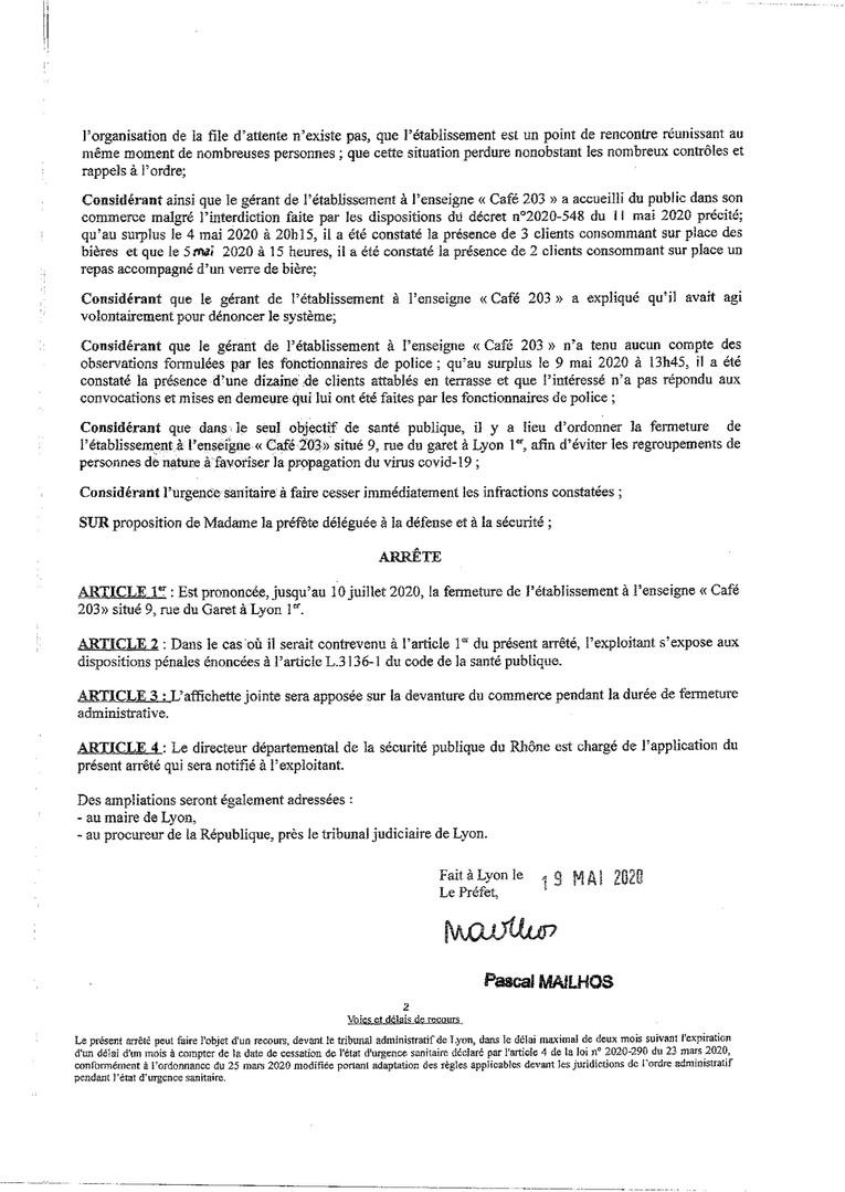 fermeture administrative 203