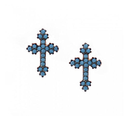 CZ Turquoise Mini Greek Cross  Studs