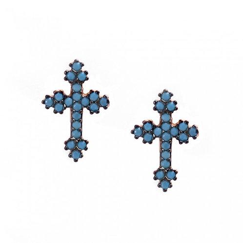 CZ Turquoise Mini Greek Cross  Studs