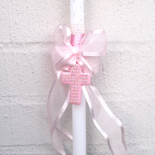 Pink Sparkle Cross Lambatha Easter Candle