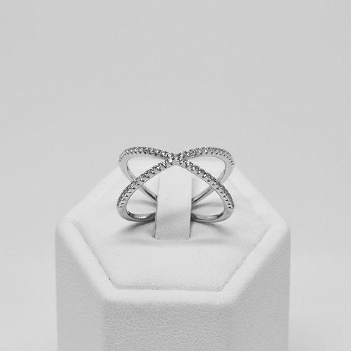 Single Criss Cross CZ Ring