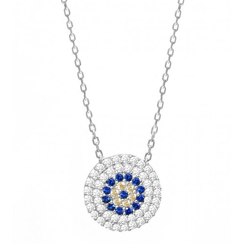 CZ Navy and White Mati Necklace