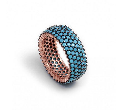 Turquoise Pave Wide Band Ring