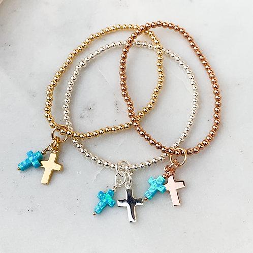 Turquoise Opalite Double Cross Charm Bracelet