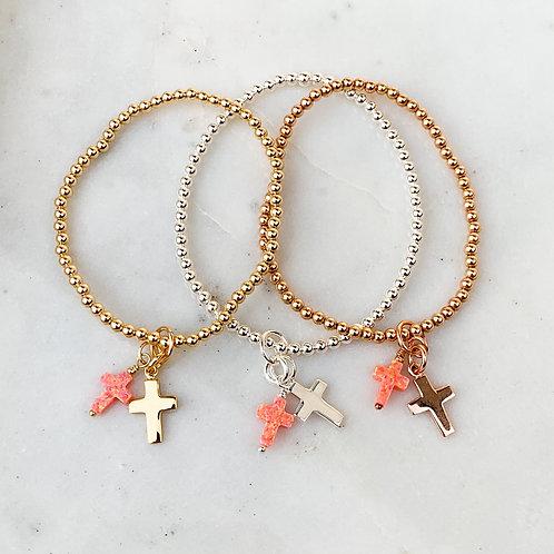 Salmon Pink Opalite Double Cross Charm Bracelet