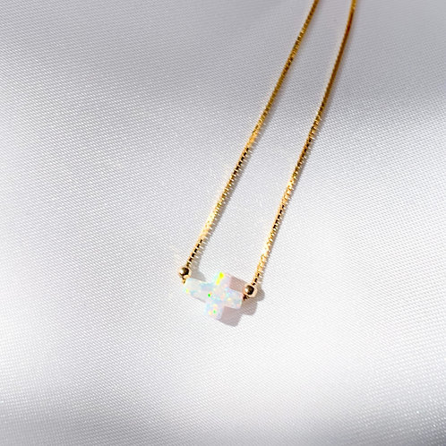 Tinos Opalite Mini Side Cross Choker