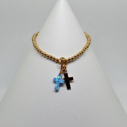 Opalite Gold Double Cross Charm Bracelet