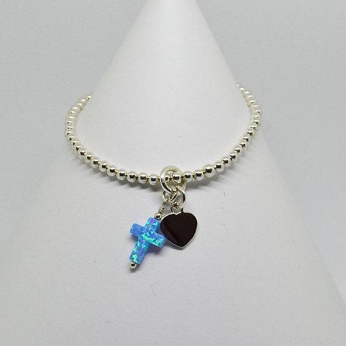 Opalite Cross & Heart Bracelet in Silver