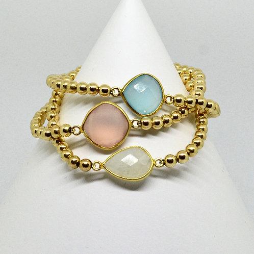 Chalcedony Gemstone Bracelet in Gold