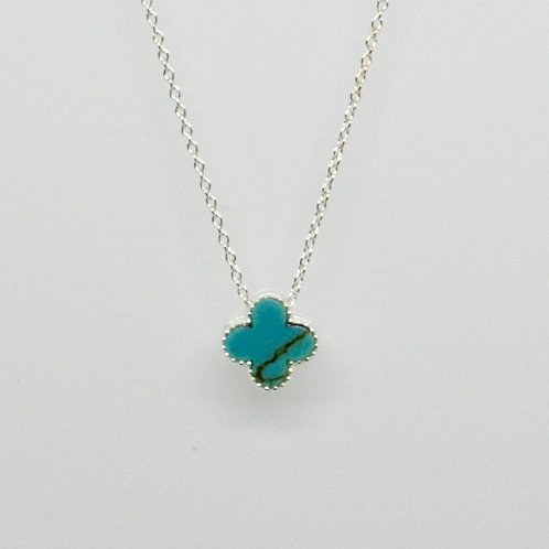 Mini Turquoise Clover Necklace