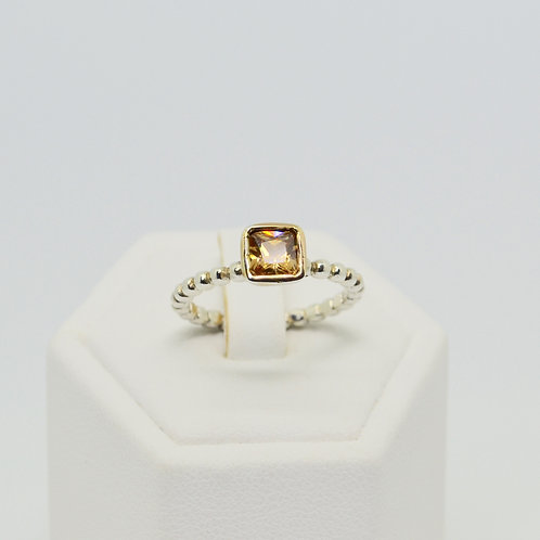 Champagne CZ Square set Solitaire Ring