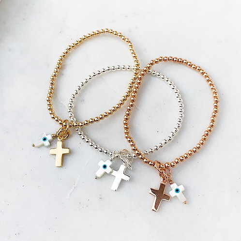 Mother of Pearl Double Cross Charm Bracelet